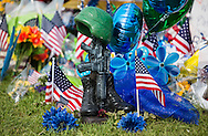 Makeshift memorial where six police officers were shot on Airline Highway in Baton Rouge. Three of the officers were killed and another one remains in criticial condition. The memorial in front of the  B-Quik gas station continues to grow.