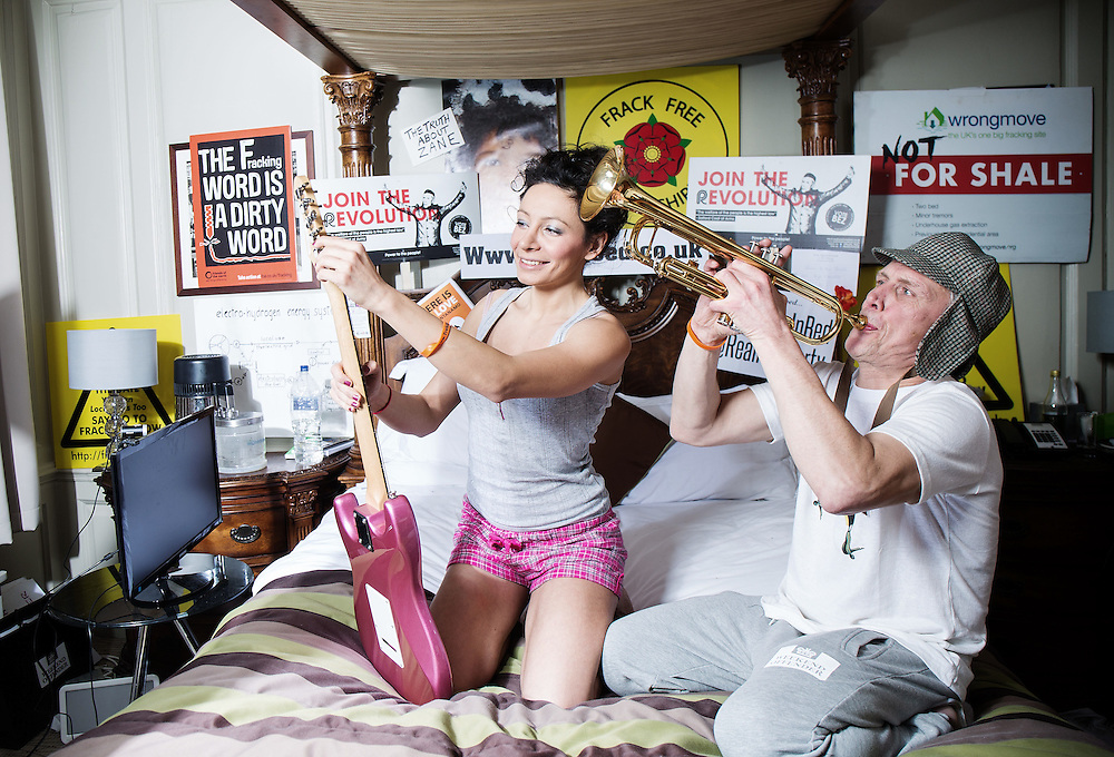 Day 3 Mark Berry AKA  Bez, former Celebrity Big Brother winner and ex-member of Manchester band Happy Mondays, in  bed with his fiancee Firouzeh Razavi at The Mount Calm Hotel, Barbican Thursday 12th February 2015 on Day 3 of their protest.<br /> <br /> <br /> Photos by Ki Price