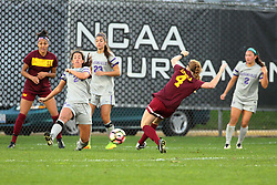 04 November 2016: Sienna Cruz(11), Colleen Dierkes(24), Olivia Panella(23), Ciara Murray(4)  during an NCAA Missouri Valley Conference (MVC) Championship series women's semi-final soccer game between the Loyola Ramblers and the Evansville Purple Aces on Adelaide Street Field in Normal IL