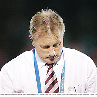 15 September 2007; Ireland head coach Eddie O'Sullivan reacts after the game. 2007 Rugby World Cup, Pool D, Ireland v Georgia, Stade Chaban Delmas, Bordeaux, France. Picture credit; Brendan Moran / SPORTSFILE