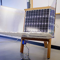 Nizhoni Tallas modified a regular solar panel to heat water and generate more electricity.