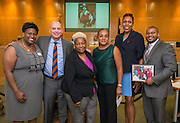 Trustee Rhonda Skillern-Jones poses for a photograph after recognizing the American Heart Association and Transportation department during a meeting of the Board of Trustees, June 9, 2016.