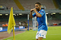 August 16, 2017 - Naples, Campania, Italy - Dries Mertens of Napoli celebrating after the goal of 1-0  during the UEFA Champions League Play Off first leg football match SSC Napoli vs OCG Nice, on August 16 2017 at the San Paolo Stadium. (Credit Image: © Matteo Ciambelli/NurPhoto via ZUMA Press)
