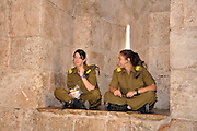 Two female Israeli soldiers in Jerusalem, Israel