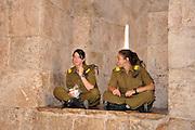 Two female Israeli soldiers in Jerusalem, Israel