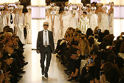 Designer Karl Lagerfeld appears during Chanel's Spring-Summer 2010 Haute-Couture fashion show in Paris, France, on January 26, 2010 . Photo by Roberto Martinelli/ABACAPRESS.COM