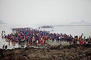 "Visitors collecting mussels during low tide at Hoedong shore (Jindo Island). Jindo is the 3rd biggest island in South Korea located in the South-West end of the country and famous for the ""Mysterious Sea Route"" or ""Moses Miracle"". Every spring thousands flock to the shores of Jindo to walk the mysterious route that stretches roughly three kilometers from Hoedong to the distant island of Modo. Materializing from the rise and fall of the tides, the divide can reach as wide as forty meters."