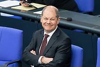 """25 MAR 2020, BERLIN/GERMANY:<br /> Olaf SCholz, SPd, Bundesfinanzminister, Bundestagsdebatte zu """"COVID 19 - Kreditobergrenzen, Nachtragshaushalt, Wirtschaftsfonds"""", Plenum, Reichstagsgebaeude, Deutscher Bundestag<br /> IMAGE: 20200325-01-052<br /> KEYWORDS: Pandemie, Corona, Sitzung, Debatte"""