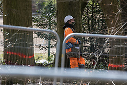 Wendover, UK. 9th April, 2021. A HS2 contractor with a pair of binoculars around his neck observes tree felling operations for the HS2 high-speed rail link in Jones Hill Wood, ancient woodland said to have inspired Roald Dahl. Tree felling work began this week, in spite of the presence of resting places and/or breeding sites for pipistrelle, barbastelle, noctule, brown long-eared and natterer's bats, following the issuing of a bat licence to HS2's contractors by Natural England on 30th March.