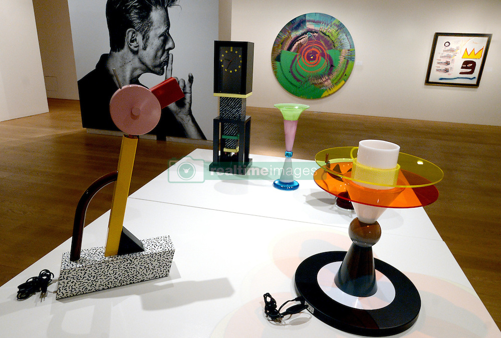Ettore Sottsass lamps and a Damien Hirst painting are displayed during the David Bowie Collector Media Preview at Sotheby's on September 26, 2016 in New York City, NY, USA. Photo by Dennis Van Tine/ABACAPRESS.COM