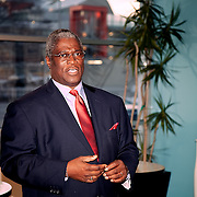 A fundraiser for the Sly James campaign for mayor of KCMO, held at Meers Advertising, with a view of the Kauffman Center for the Performing Arts at top.