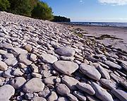 Limestone cobbles along the shore of Lake Erie, Kelleys Island, Ohio.