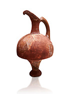 Hittite terra cotta red glazed beak spout pitcher . Hittite Period, 1600 - 1200 BC.  Hattusa Boğazkale. Çorum Archaeological Museum, Corum, Turkey. Against a white bacground. .<br />  <br /> If you prefer to buy from our ALAMY STOCK LIBRARY page at https://www.alamy.com/portfolio/paul-williams-funkystock/hittite-art-antiquities.html  - Hattusa into the LOWER SEARCH WITHIN GALLERY box. Refine search by adding background colour, place,etc<br /> <br /> Visit our HITTITE PHOTO COLLECTIONS for more photos to download or buy as wall art prints https://funkystock.photoshelter.com/gallery-collection/The-Hittites-Art-Artefacts-Antiquities-Historic-Sites-Pictures-Images-of/C0000NUBSMhSc3Oo