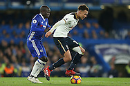 Dele Alli of Tottenham Hotspur is challenged by Ngolo Kante of Chelsea. Premier league match, Chelsea v Tottenham Hotspur at Stamford Bridge in London on Saturday 26th November 2016.<br /> pic by John Patrick Fletcher, Andrew Orchard sports photography.