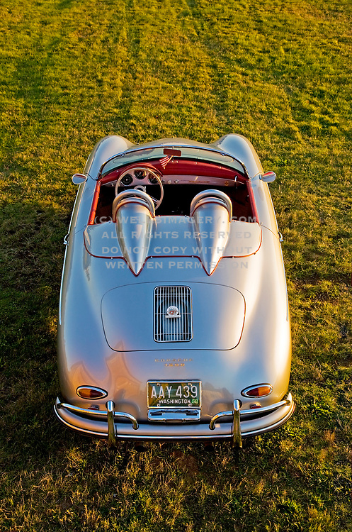 Image of a silver 1958 Porsche 356 Speedster in Washington, Pacific Northwest, property released by Randy Wells