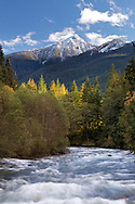 Fresh snow on Mount Pierce and the Chilliwack River in Chilliwack, British Columbia, Canada
