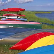 Colorful canoes, Cape Cod, Massachusetts
