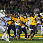 Sept 29 2018 - Berkeley, CA  U.S.A. California running back Patrick Laird (28) game stats 18 carriers for 95 yards and 1 touchdown break for daylight for a short gain during the NCAA Football game between Oregon Ducks and the California Golden Bears 24-42 lost  at California Memorial Stadium.  Thurman James / CSM