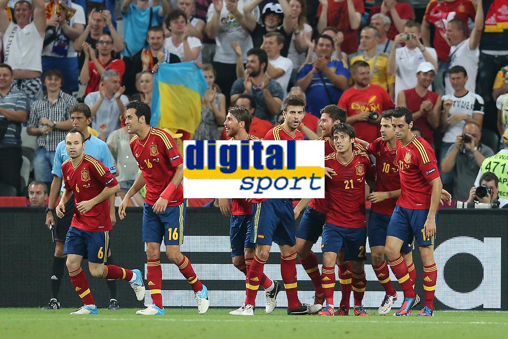 FOOTBALL - UEFA EURO 2012 - DONETSK - UKRAINE  - 1/4 FINAL - SPAIN v FRANCE - 23/06/2012 - PHOTO PHILIPPE LAURENSON /  DPPI - JOY XABI ALONSO (ESP) AFTER HIS GOAL