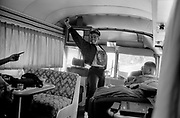Bill Clinton as Governor of Arkansas and US Presidential Candidate during the Presidential Election Campaign October 1992. Scans made in 2017.<br /> Seen here: Lady Soul singers who performed as warm up to Bill Clinton in Georgia on their bus following the candidate.<br /> Photographs on the road on the 1992 Presidential Election campaign trail from Philadelphia and down the eastern states to Atlanta in Georgia. Clinton went on to become the 42nd President of the United States serving two terms from 1993 to 2001.