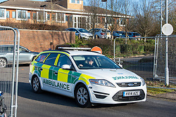 © Licensed to London News Pictures. 08/02/2020. Milton Keynes, UK. A ambulance departs the Kents Hill Park Training and Conference Centre. A Milton Keynes conference centre is to house evacuees from the Chinese city of Wuhan, the epicentre of the Novel Coronavirus (2019-nCoV) outbreak, the British citizens are due to be flown back on Sunday 9th February and are expected to land at RAF Brize Norton in Oxfordshire and will remain at the conference centre for 14 days to be monitored. Photo credit: Peter Manning/LNP