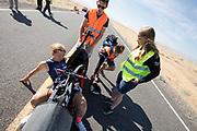 Aniek Rooderkerken gaat van start in de VeloX 7 tijdens de kwalificaties op maandagmorgen. Het Human Power Team Delft en Amsterdam, dat bestaat uit studenten van de TU Delft en de VU Amsterdam, is in Amerika om tijdens de World Human Powered Speed Challenge in Nevada een poging te doen het wereldrecord snelfietsen voor vrouwen te verbreken met de VeloX 7, een gestroomlijnde ligfiets. Het record is met 121,44 km/h sinds 2009 in handen van de Francaise Barbara Buatois. De Canadees Todd Reichert is de snelste man met 144,17 km/h sinds 2016.<br /> <br /> With the VeloX 7, a special recumbent bike, the Human Power Team Delft and Amsterdam, consisting of students of the TU Delft and the VU Amsterdam, wants to set a new woman's world record cycling in September at the World Human Powered Speed Challenge in Nevada. The current speed record is 121,44 km/h, set in 2009 by Barbara Buatois. The fastest man is Todd Reichert with 144,17 km/h.