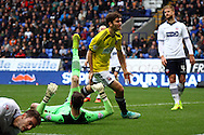 Brentfords' Jon Toral celebrates after scoring his teams 1st goal. Skybet football league championship match, Bolton Wanderers v Brentford at the Macron stadium in Bolton, Lancs on Saturday 25th October 2014.<br /> pic by Chris Stading, Andrew Orchard sports photography.