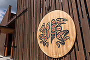 The facade of the Kwanlin Dun Cultural Centre in Whitehorse, Yukon, Canada.