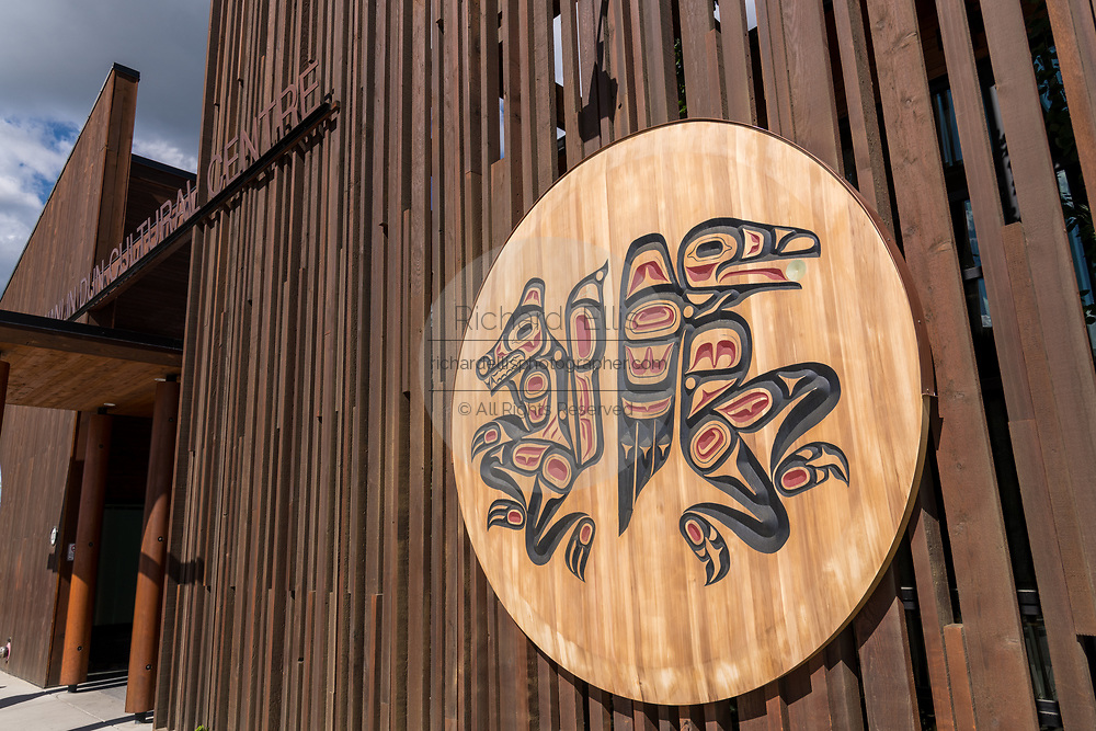 The facade of the Kwanlin Dun Cultural Centre in Whitehorse, Yukon, Canada.