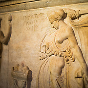 Sarcophagus of Gymnasiarch Gerostratos with Dionysiac Relief, made of marble, from Beirut, Lebanon, and dating to the Roman period around 2nd century AD on display in the main building of the Istanbul Archaeology Museums. The Istanbul Archaeology Museums, housed in three buildings in what was originally the gardens of the Topkapi Palace in Istanbul, Turkey, holds over 1 million artifacts relating to Islamic art, historical archeology of the Middle East and Europe (as well as Turkey), and a building devoted to the ancient orient.