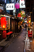 """Piss Alley has been rebranded and renamed in recent years as """"Memory Lane"""" for obvious reasons.  It is a long-standing favorite drinking and snacking area (mostly drinking)  adjacent to Shinjuku Station, designed for a quick one for the road for commuters on the way home.  A remnant of the bygone days, Piss Alley features small bars, cheek-by-jowl in a narrow lane.  Its nickname is said to have come about because drunks used to take a leak in the alley back in the good old days when that sort of behavior was overlooked.  It is a reminder that the surrounding shiny skyscrapers were not always there, and that Japan even today has these back-alley joints for a quick drink & snack.  These days public rest rooms are provided to prevent the public from being offended.  And to contain the smell."""