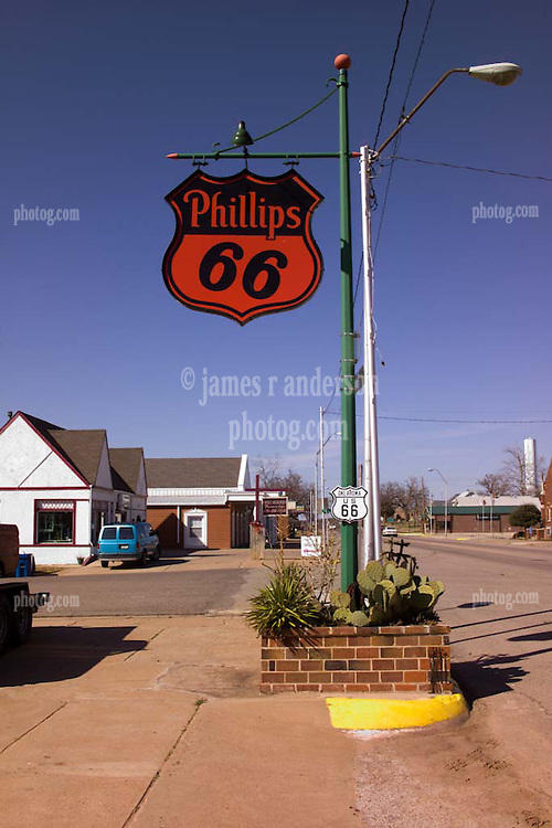 The Sign at the Old Cottage Style Phillips 66 Service Station, along Old US Route 66 in Chandler Oklahoma