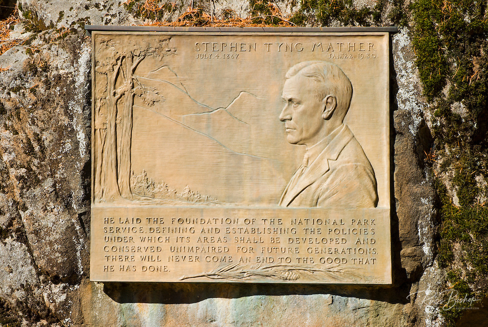 Memorial to Stephen Mather at the Longmire Ranger Station, Mount Rainier National Park, Washington