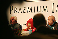 Frei Otto (left), Yoyoi Kusama (centre) and Christian Boltanski (right) being introduced at a press conference for the 2006 Praemium Imperiale art awards given by The Japan Art Association, in the Hotel Okura, Tokyo, Japan, on Tuesday, Oct. 17,  2006. The five laureates in 2006 were internationally renowned  Japanese artist Kusama Yayoi, French sculptor Christian Boltanski, German architect Frei Otto, American musician Steve Reich, and Russian dancer ballerina Maya Plisetskaya. All receive an honorarium of 15 million Yen, and a medal. The Japan Art Association, giver of the awards, is the oldest cultural foundation in Japan, established in 1887. The laureates are chosen each year by an international jury, from a list of nominees put forward by advisors. The awards are held annually in Tokyo in the presence of Prince and Princess Hitachi.