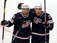 Ishockey<br /> VM 2011<br /> Kosice Slovakia<br /> 02.05.2011<br /> Norge v USA<br /> Foto: Gepa/Digitalsport<br /> NORWAY ONLY<br /> <br /> Bild zeigt den Jubel von Chris Porter und Jack Skille (USA).