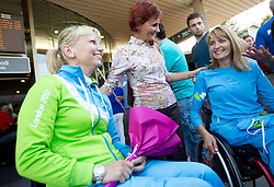 Mateja Pintar with her mother and Andreja Dolinar of Team Slovenia at arrival to Airport Joze Pucnik after the London 2012 Paralympic Games on September 10, 2012, in Brnik, Slovenia. (Photo by Vid Ponikvar / Sportida.com)