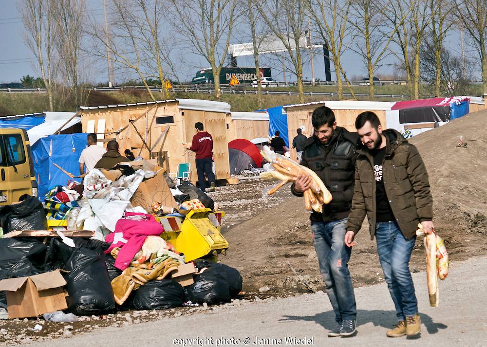 The newly occupied Refugee camp in Grande-Synthe Dunkirk with wooden cabins. March 2016. Built by Medecins Sans Frontieres (MSF)