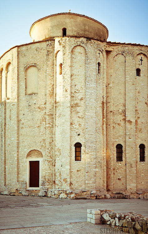Church of St. Donatus just before sunset. The building, a pre-Romanesque church from the 9th century, is located in the northeastern part of the Roman forum in Zadar, Croatia.