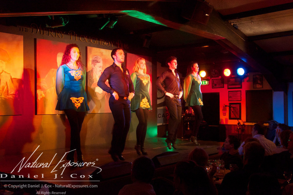 Irish dancers perform at the Mery Ploughboys Pub in Dublin, Ireland.