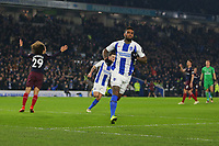 Football - 2018 / 2019 Premier League - Brighton and Hove Albion vs. Arsenal<br /> <br /> Jurgen Locadia of Brighton wheels away in celebration after equalising at The Amex Stadium Brighton <br /> <br /> COLORSPORT/SHAUN BOGGUST
