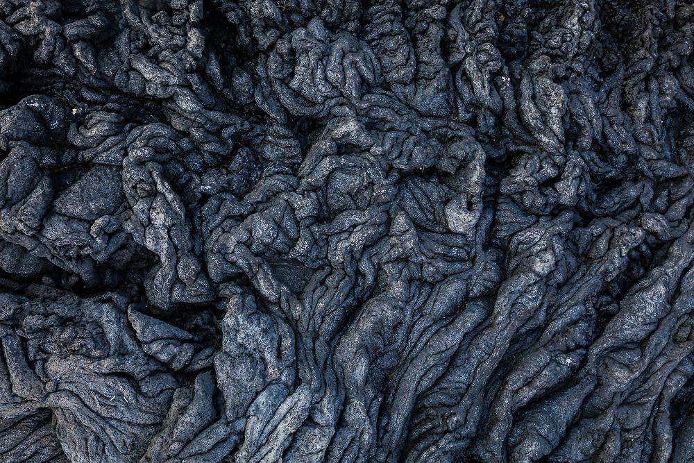 Details of old Pahoehoe lava flows, Wawaloli Beach Park, Kailua-Kona, Hawaii, USA.