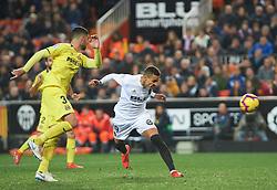 January 26, 2019 - Valencia, Valencia, Spain - Rodrigo Moreno of Valencia CF scores a goal during the La Liga Santander match between Valencia and Villarreal at Mestalla Stadium on Jenuary 26, 2019 in Valencia, Spain. (Credit Image: © AFP7 via ZUMA Wire)