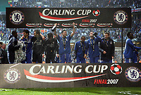 Photo: Rich Eaton.<br /> <br /> Chelsea v Arsenal. Carling Cup Final. 25/02/2007. Chelsea players celebrate their 2-1 victory over Arsenal