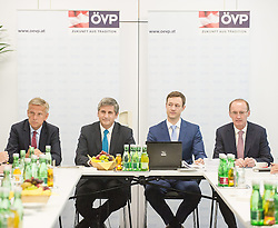 26.05.2014, OeVP Bundespartei, Wien, AUT, OeVP, Vorstandssitzung der OeVP Bundespartei. im Bild v.l.n.r. OeVP Klubobmann Reinhold Lopatka, Vizekanzler und Bundesminister fuer Finanzen Michael Spindelegger (OeVP), OeVP Generalsekretaer Gernot Bluemel und Spitzenkandidat zur EU-Wahl Othmar Karas // f.l.t.r. Leader of the Parliamentary Group OeVP Reinhold Lopatka, Vice Chancellor of Austria and Minister of Finance Michael Spindelegger (OeVP), Secretary General of OeVP Gernot Bluemel and Topcandidate for EU-Election Othmar Karas before board meeting of OeVP at federal party of OeVP in Vienna, Austria on 2014/05/26. EXPA Pictures © 2014, PhotoCredit: EXPA/ Michael Gruber