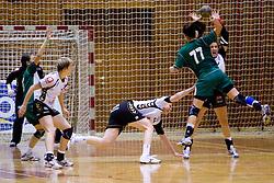 Maja Son shooting on goal at last 10th Round handball match of Slovenian Women National Championships between RK Krim Mercator and RK Olimpija, on May 15, 2010, in Galjevica, Ljubljana, Slovenia. Olimpija defeated Krim 39-36, but Krim became Slovenian National Champion. (Photo by Vid Ponikvar / Sportida)