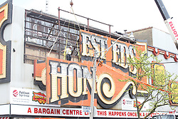 May 23, 2017 - Toronto, ON, Canada - TORONTO, ON - MAY 23  -    -    Crews and a crane  begin the removal process of the iconic HONEST ED's sign at 581 Bloor Street, Mirvish Village. Vince Talotta/Toronto Star (Credit Image: © Vince Talotta/The Toronto Star via ZUMA Wire)
