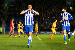Goal. Tomer Hemed of Brighton & Hove Albion scores, Brighton & Hove Albion 2-0 Fulham - Mandatory byline: Jason Brown/JMP - 07966 386802 - 15/04/2016 - FOOTBALL - American Express Community Stadium - Brighton,  England - Brighton & Hove Albion v Fulham - Championship