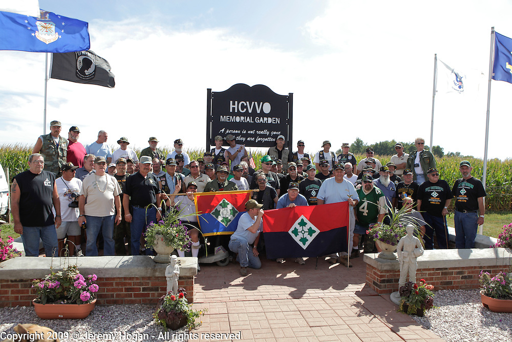 Vietnam Veterans 4th Infantry Division - Ivy - gather for a group photo during the Vietnam Veterans gathering in Kokomo, Indiana for the 2009 reunion.