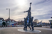 Twickenham, Surrey, UK., Saturday, 13/02/2021, Bronze Rugby Statue, Line Out,  in front of the RFU Rugby  Stadium, in the  deserted streets around the stadium on the afternoon of England vs Italy, behind closed doors, Lock Down, Covid19; Sunny Winter Day,  Blue Sky, White Clouds, Mandatory Credit: Peter Spurrier,