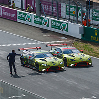 Crossing the finish line #95 and #97 Aston Martins of Aston Martin Racing at Le Mans 24H 2020 on 20/09/2020